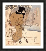 Women walking in the snow Picture Frame print