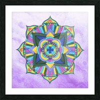 Hand Painted Mandala Watercolor Meditation on Purple Picture Frame print