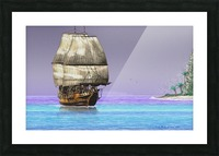 Sailship On A Tropical Island Picture Frame print