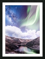 Aurora Borealis And Milky Way Picture Frame print