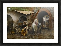 Horse care in oriental market Picture Frame print