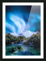 Aurora Polaris Over The Waterfall Picture Frame print