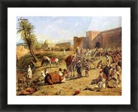 Arrival of a caravan outside the city of Morocco Picture Frame print