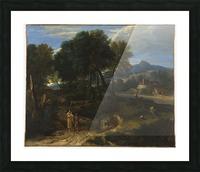 Pastorale avec un jeune patre et une femme avec un enfant dans les bras Picture Frame print