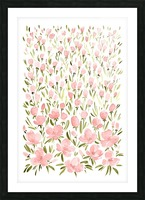 Field of pink watercolor flowers by blursbyai Picture Frame print