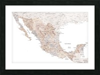 Detailed map of Mexico in neutral watercolor Picture Frame print