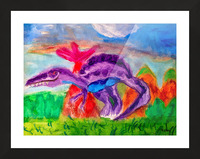Dinosaur drawn by 5 year old Picture Frame print