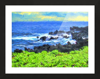 Hana Beach Hawaii Watercolor Picture Frame print