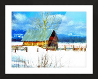 Winter Homestead Watercolor  Picture Frame print