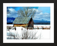 Winter Homestead  Picture Frame print