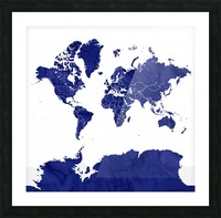 navy blue world map with outlined countries Picture Frame print