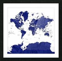 Navy blue watercolor world map with countries and states labelled Picture Frame print
