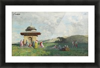 Landscape with people and small mosque Picture Frame print