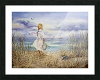 Girl Standing At The Ocean Watching Sailboat and Birds Picture Frame print