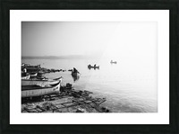 Fishing boats at the foggy port of Balchik Picture Frame print