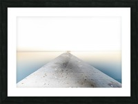 Man fishing on a pier Picture Frame print