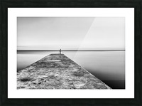 Fisherman angling at sunset Picture Frame print