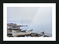 Fishing boats in fog Picture Frame print