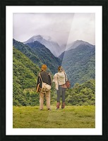 Young Backpackers at Top of Mountain, Banos, Ecuador Picture Frame print