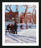 Learning to Skate at Outremont Park. Picture Frame print