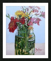 Flowers in a Mason Jar Picture Frame print