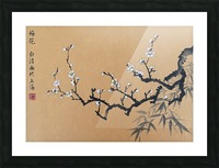 White Plum Blossom With Bamboo Picture Frame print
