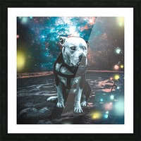 cosmos background space dog Picture Frame print