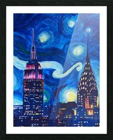 Starry Night in New York Van Gogh Manhattan Chrysler Building and Empire State Building Picture Frame print
