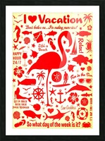 Vintage Travel - I Love Vacations Picture Frame print