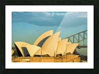 First plane of the morning Sydney Opera House Picture Frame print