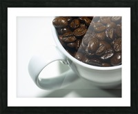 Coffee Beans in white mug Picture Frame print