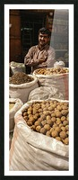 Shop keeper behind Bags of Dried goods Picture Frame print