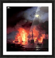 Battle of Cesme at Night Picture Frame print