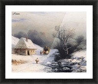 Little Russian Ox Cart in Winter Picture Frame print