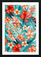 Vibrant Tropical Floral  Picture Frame print