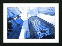 Skyscrapers reflections clouds Picture Frame print
