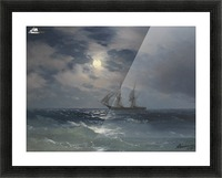The Brig Mercury in moonlight Picture Frame print