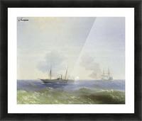 Battle of steamship Vesta and Turkish ironclad Picture Frame print