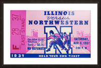 1937_College Football Collection_Northwestern vs. Illinois_Historic Dyche Stadium Evanston_Ticket Picture Frame print