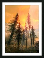 Pine Woods Sunset Fantasy Picture Frame print