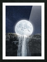 Moon Waterfall Fantasy Picture Frame print
