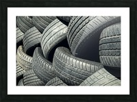 Tires stacked for recycling Picture Frame print