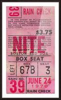 1970_Major League Baseball_Boston Red Sox Ticket Stub Art_Fenway Park Artwork_Red Sox vs. Orioles Picture Frame print