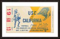 College Football Ticket Stub Collection_1966 USC vs. California Football Ticket Art Row One Brand (1) Picture Frame print