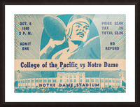 1940_College_Football_Pacific vs. Notre Dame_Notre Dame Stadium_Notre Dame Ticket Stub Art II Picture Frame print