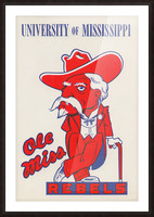 1975 College Mascot Art Reproduction University of Mississippi Ole Miss Rebels_Colonel Reb Art (1) Picture Frame print