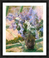Flowers in the window by Cassatt Picture Frame print