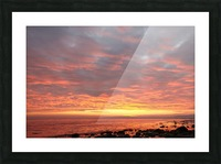 Dramatic sunset at a small bay Picture Frame print