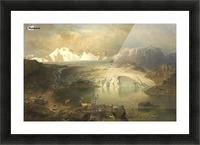 Fjordlandschaft mit Gletscher und Rentieren Picture Frame print