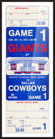 1976 dallas cowboys new york giants nfl ticket stub poster art reproduction football wall artwork Picture Frame print